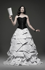 This model corsetted with a skirt of tumbling pages was featured in the promotional slideshow for the Book Lover's Ball. For more info and full photo credits, visit http://bookloversball.ca/