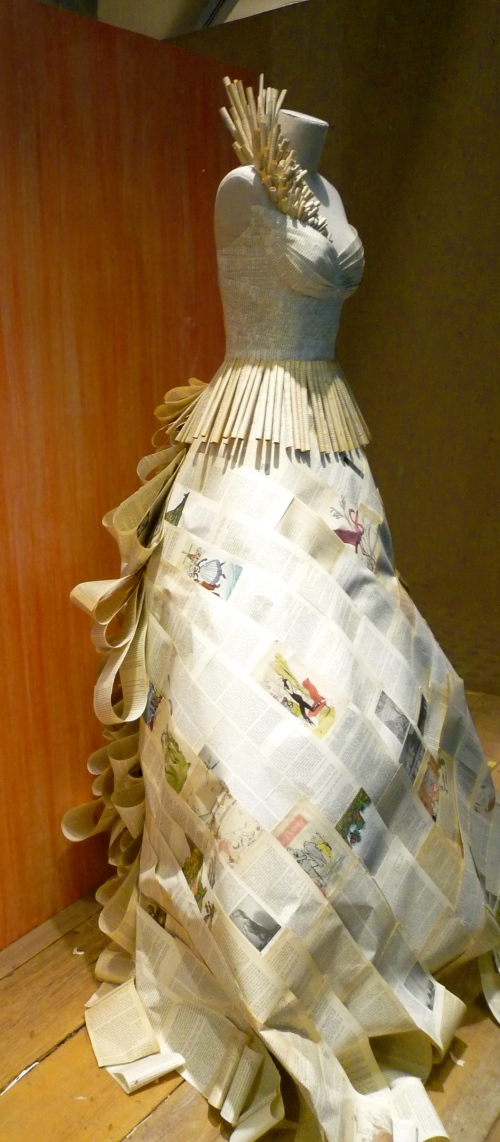 Another photo taken of a dress of books in an Anthropologie window.