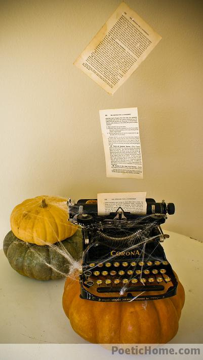 PoeticHome.com steals my heart with their vintage Halloween decorations, several featuring books and writing. Do click to view: http://www.poetichome.com/tag/vintage-halloween-decor/
