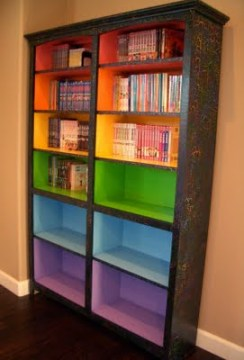 Blogger Carolyn Chrisman shared this DIY project for painting rainbow bookshelves -- perfect for dressing up an ordinary bookcase for a child's playroom.